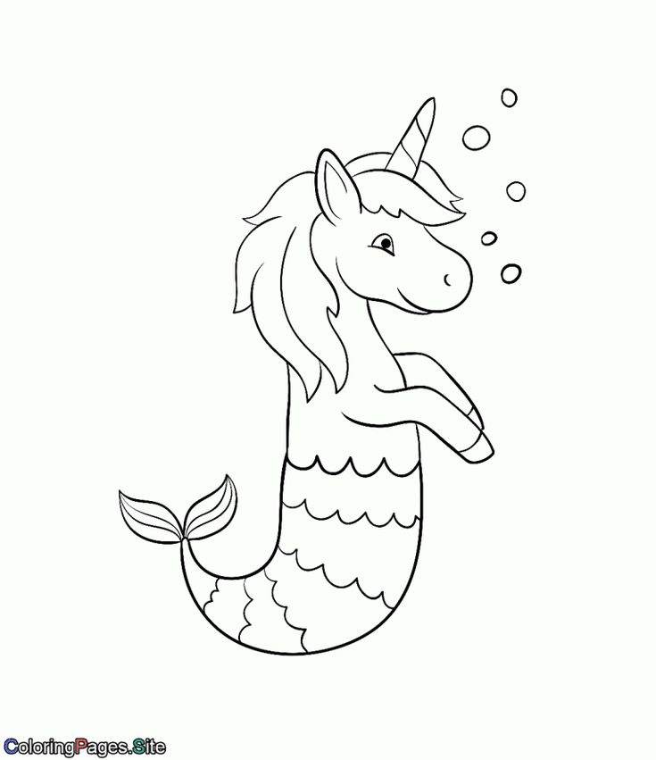 mermaid unicorn coloring page in 2020 | Unicorn coloring ...
