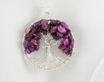 Encaje púrpura ágata árbol de la vida colgante de plata con cadena alambre envuelto piedra preciosa ágata preciosa