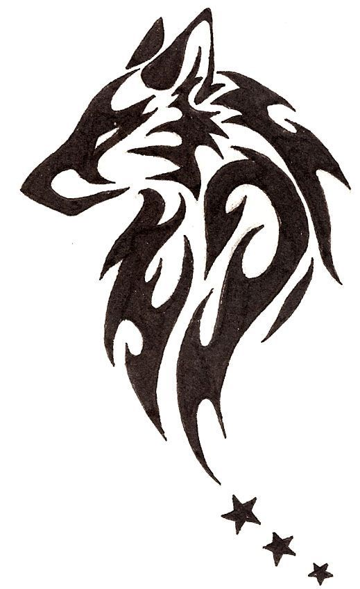Beautiful Tribal Wolf Head With Stars Tattoo Design