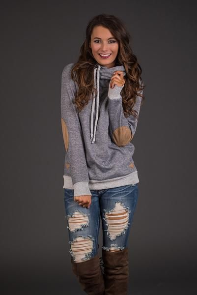 Click With You Cowl Neck Pullover Hoodie (Heather Grey)