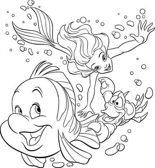 Free Disney Coloring Pages | Ariel free coloring pages | Disney Princess Coloring Pages