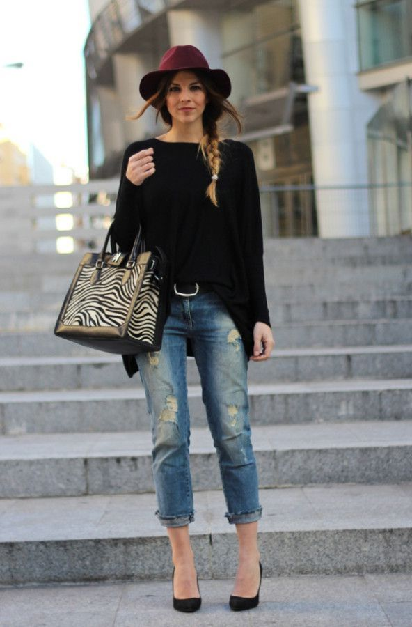 Boyfriend Jeans Dressed Up With Hat