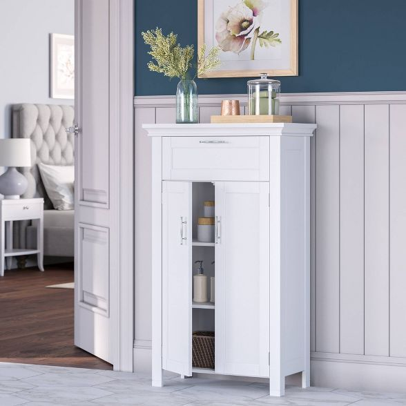 Free Standing Cabinet With 2 Doors And Drawer White In 2020 Free