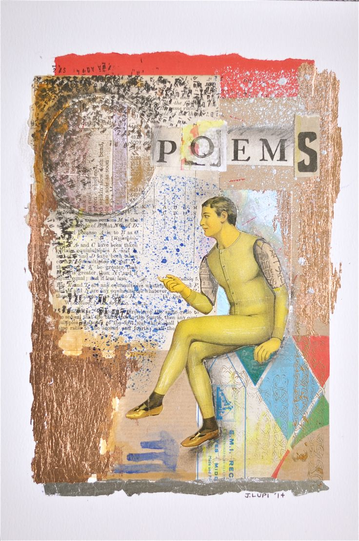 Collage - cut and paste - vintage - paper - books - copper leaf - ink - mixed media