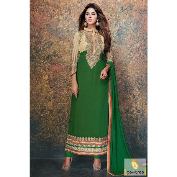 Buy Fancy Anarkali Santoon Green Dress ❤ liked on Polyvore featuring dresses, green embellished dress, embellished party dresses, green party dress, going out dresses and fancy dress
