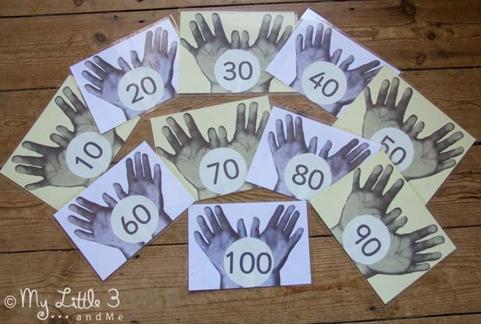 Count to 100 in 1's, 5's and 10's - make this simple times tables games and early maths skills set. from My Little 3 and Me.