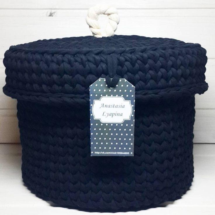 Интерьерная корзинка выполнена на заказ  Повтор возможен Размер:25×20 #моимируками #текстильнаяпряжа #вяжудляВас #интерьерныекорзинки #подаркикновомугоду