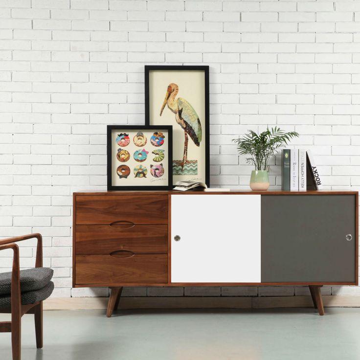 Svend Sideboard - Walnut - 180x45x80cm - White/Grey Doors - ICON BY DESIGN