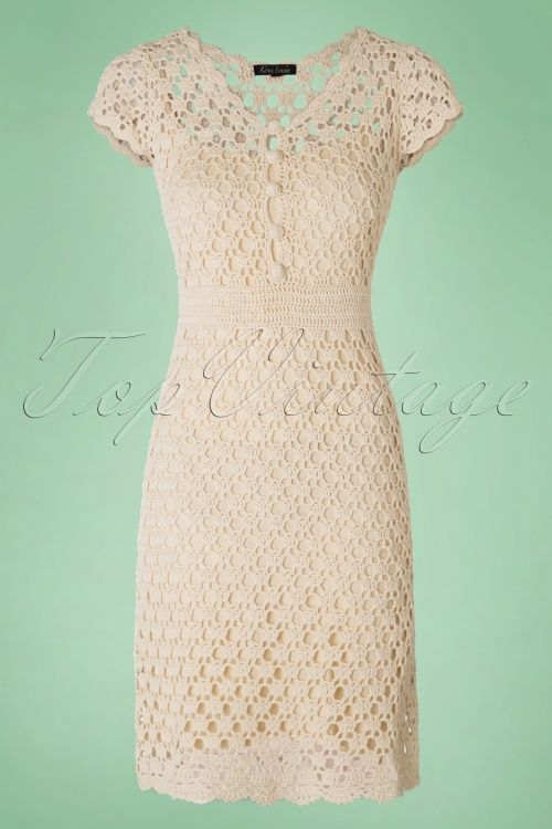 King Louie ~ 40s Cornelia Crochet Dress in Cream