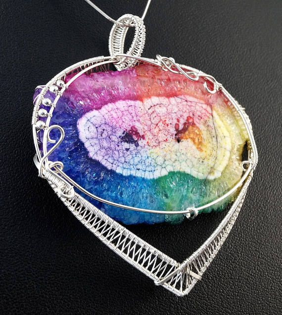 A unique, handmade, wire wrapped pendant with RAINBOW SOLAR QUARTZ .  Pendant was designed and made by Me, using an extremely labor-intensive and precise wire-wrapping technique, with sterling silver 925, 930 and 999. Dimensions of pendant: length: 7 cm 2.75 inch width: 6.4 cm 2.51 inch  You receive this unique pendant in jewelry box, so it is ready to be a gift.  ---On this auction You buy ONLY pendant without chain-----------  Amethyst is a violet variety of quartz often used in…