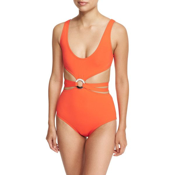Proenza Schouler Maillot Split-Middle One-Piece Swimsuit ($141) ❤ liked on Polyvore featuring swimwear, one-piece swimsuits, orange, strappy bathing suit, orange one piece bathing suit, 1 piece swimsuit, tie back one piece swimsuit and strappy one piece bathing suit