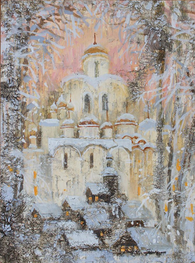 Russia Painting - White Cathedral Under Snow by Ilya Kondrashova  #RussianArtistsNewWave #OriginalArtForSale  #OriginalPainting #IlyaKondrashov #Village #OrthodoxChurch #PaintingonBirchBark #Russia #Painting #HomeDecor