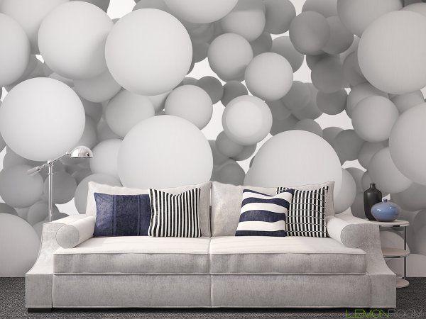 Lekko, jasno i trójwymiarowo. #Fototapeta z aranżacji ➡ http://lemonroom.pl/fototapeta-35-Fototapety-D-91141003-Group-of-white-spheres.html   #Fototapety #interiordesign #Decor #murals #wallmurals