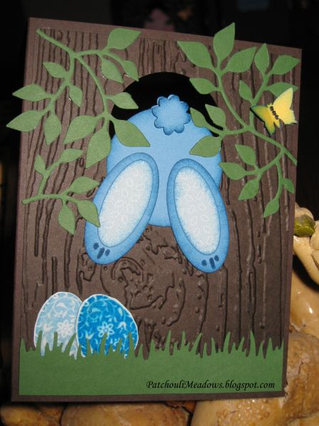 handmade Easter card ... too cute! ... punch art bunny jumping throua fence hole ...
