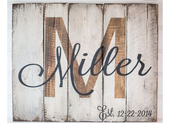 Monogram Pallet Sign – Custom Monogram Sign – Custom Established Sign – Custom…