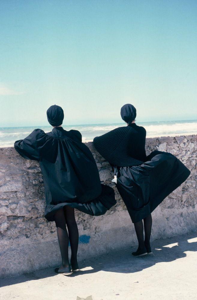 Marie Claire, Essaouira, Morocco, Betty Bertrand Kenzo et Dorothée Bis, 1981.   by Sacha Van Dorssen