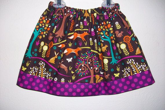 Twirl Skirt Norwegian Woods Forest Animals by lilsweetieboutique