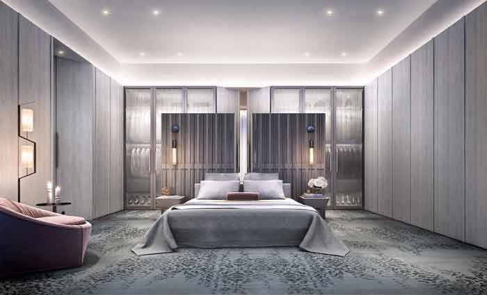The master bedroom at The Grand Pavilion, East Melbourne is fit for a king. The attention to detail in the materials used in the penthouse's construction is second to none. Real care has been taken to highlight the use of natural materials such as stone and wood.