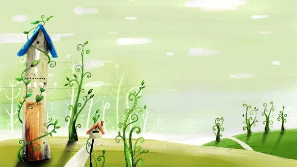 Обои весна, рисунок, мультик, здание, трава