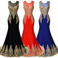 Wish | Sleeveless Golden Appliques Ball Gown Evening Prom Party Dress
