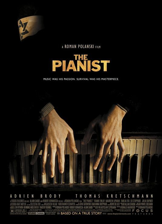 THE PIANO (2002) | Roman Polanski | the director's finest achievement, and elevates Adrien Brody (Oscar win for Best Actor 2002) to eminence in his representation of Wladyslaw Szpilman, a Polish Jew who survived the Nazi occupation of Warsaw.