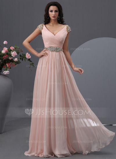 Vestidos princesa/ Formato A Decote V Chá comprimento De chiffon Vestido de baile com Pregueado Perolização Lantejoulas (018022748)