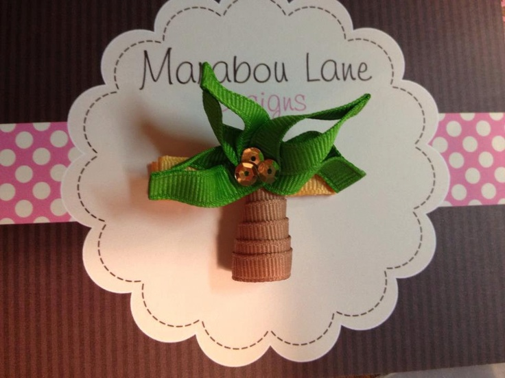 Palm Tree Ribbon Sculpture by MarabouLaneDesigns on Etsy