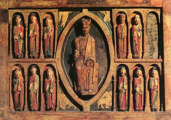 Houten altaarretabel (12de e.) uit de Santa Maria kerk in Tahull (Spanje)