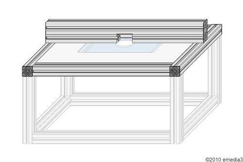 Detailanleitung zur Montage des Frästischplatten-Modulrahmens mit verstellbaren Auflagen für die Frästischplatte - DIY-Bauanleitung für einen modularen Frästisch für die Oberfräse
