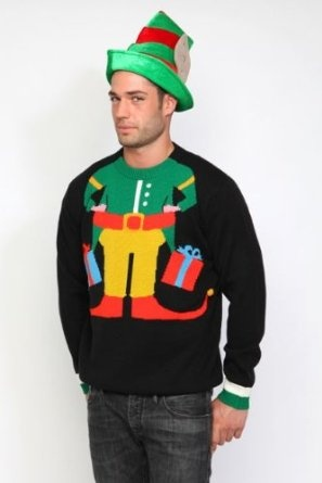 Elf Christmas Jumper. This model is TRYING to still look sexy...