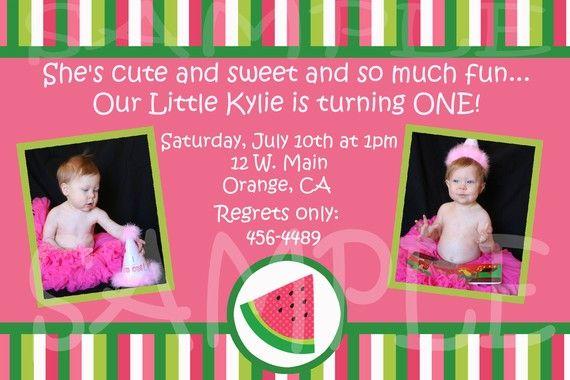 Watermelon Stripes Pink Summer Photo Birthday by lisamt2001, $12.00