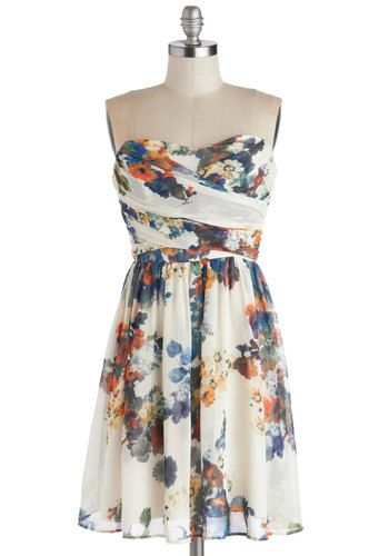 This dress is so artsy, and some of my favorite colors are on this dress. The design of the flowers almost looks painted on! Illustrate the Obvious Dress, #ModCloth