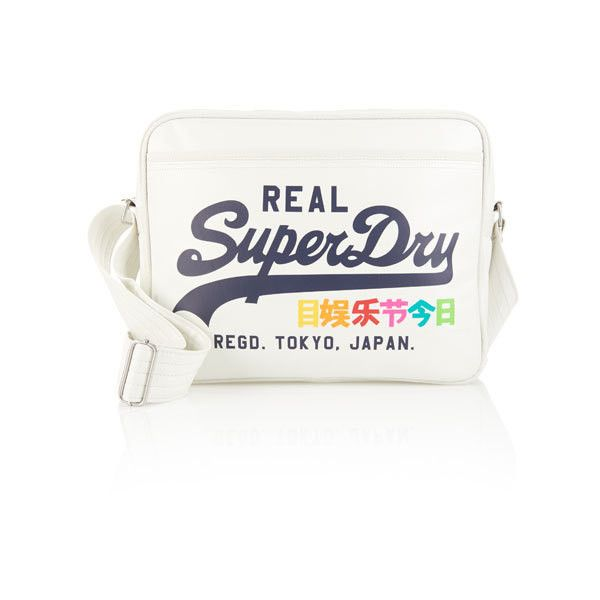 Superdry Rainbow Alumni Bag ($55) ❤ liked on Polyvore featuring bags, handbags, shoulder bags, white, superdry, white shoulder handbags, shoulder handbags, zipper handbag and zip purse