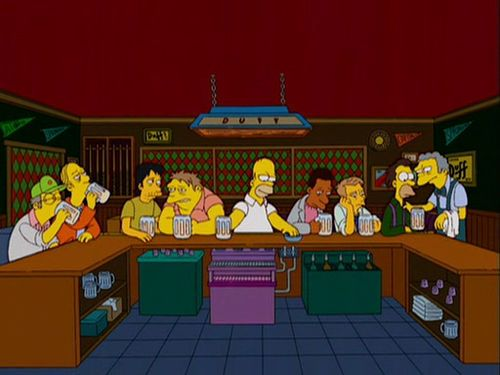 The Simpsons parody of the Last Supper.