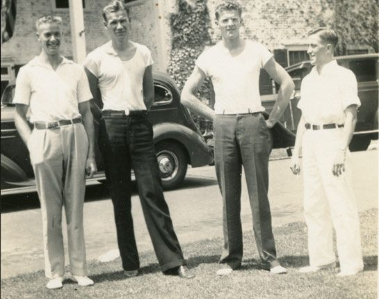 "Joe Rantz, Jim ""Stub"" McMillin, Chuck Day and Bobby Moch take a break from the water in 1936 in New Jersey during the Olympic qualifying trials. Despite earlier competition back in Washington, friendship and trust was necessary to make the boat the best as it could be.  (Credit: The Bobby Moch Family)"