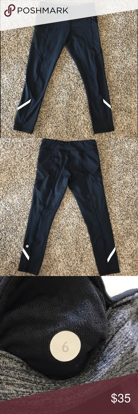 Lululemon Black Zip Pocket 7/8 Length Leggings In excellent condition; no holes, stains, or flaws▪️Mid-rise▪️key pocket on rear waist band▪️Two large pockets with zipper closure on sides▪️Fabric content unknown, tag has been ripped▪️ lululemon athletica Pants Leggings