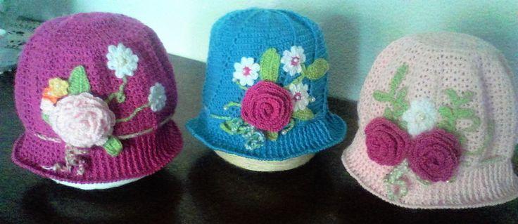 sombreros a crochet para niña