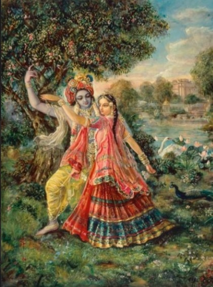 Krsna picking the Parijata flower for His wife Satyabhama ...