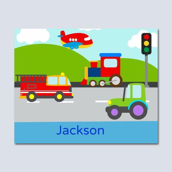 Kunst aan de muur kinderkamer transport Boy door SweetBloomsDecor