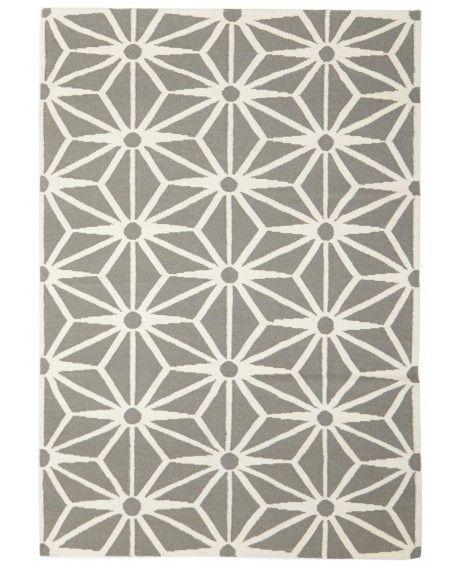 Florø Grey & White Starburst Wool Rug