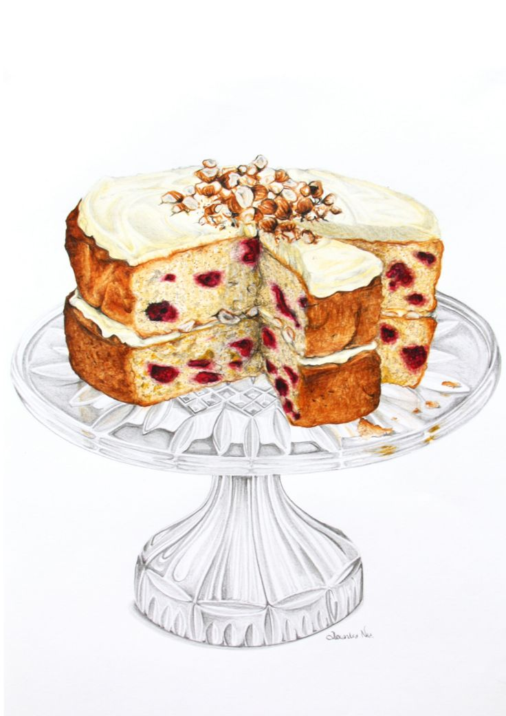Raspberry and Hazelnut Sour Cream Cake - Alexandra Nea