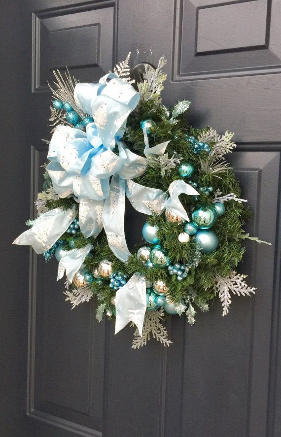 Ice blue Christmas Wreath Front Door Christmas by PinkLimeWreaths                                                                                                                                                                                 More