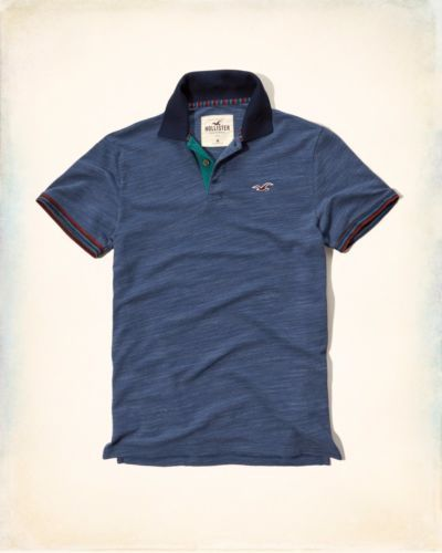 New-Hollister-by-Abercrombie-amp-Fitch-NWT-Patterned-Tipped-Pique-Polo-Navy-Color