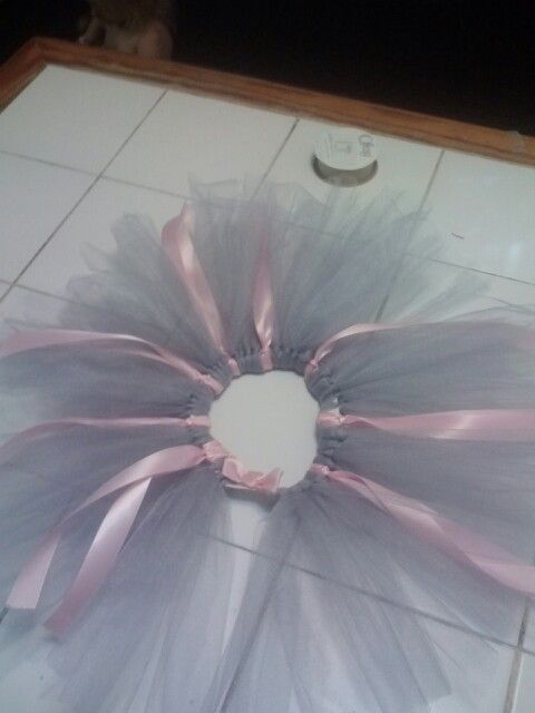 Pink ribbon and gray Tulle tutu for mouse costume
