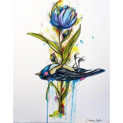 Let it bloom. Handmade artwork, pencils and watercolor on good quality illustration paper. This unique piece is signed and authenticated by the artist. (Keywords: drawing, illustration, animal, bird, nature, flower, leaf, blue, green, pink)