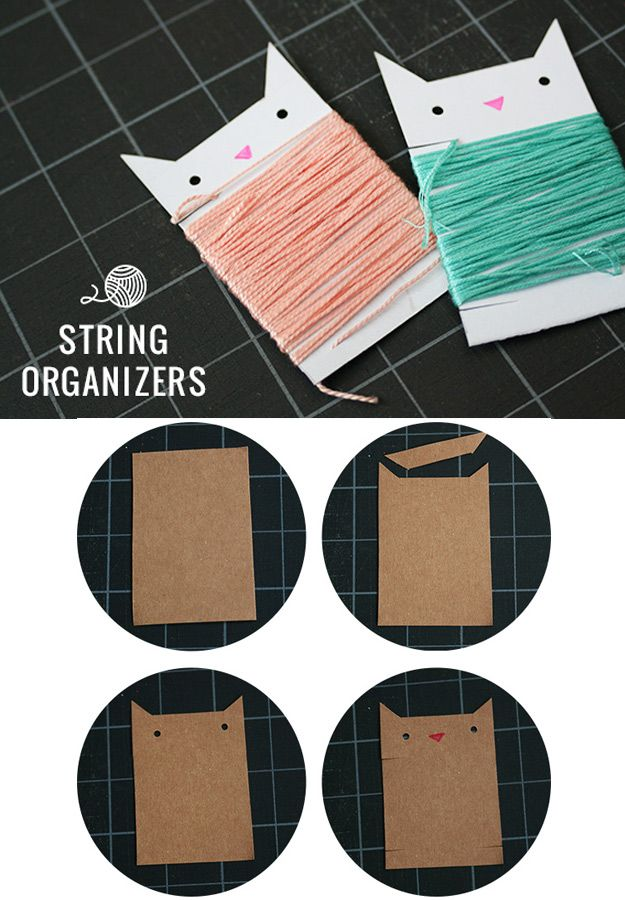 DIY Craft Room Ideas and Craft Room Organization Projects -  DIY String Organizers - Cool Ideas for Do It Yourself Craft Storage - fabric, paper, pens, creative tools, crafts supplies and sewing notions |   http://diyjoy.com/craft-room-organization