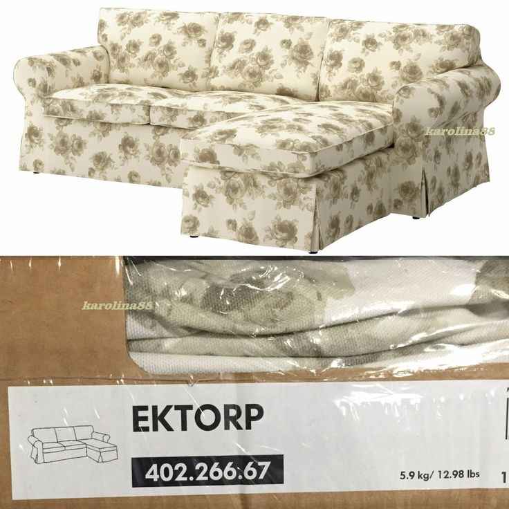 Ikea Ektorp Loveseat With Chaise Slipcover Only Norlida Roses Gardens Traditional And Home