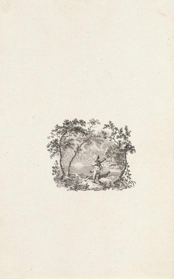 Reinier Vinkeles | Titelpagina voor: Rhijnvis Feith 'Ferdinand en Constantia, dl. 2', 1785, Reinier Vinkeles, 1785 | Titelpagina met een kind aan de oever van het water. Aan de waterkant liggen twee bootjes.