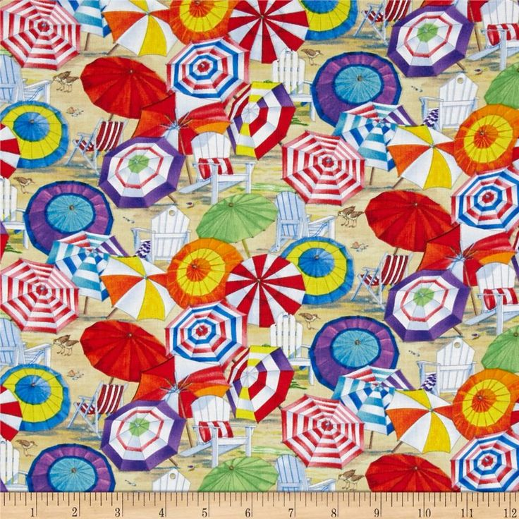 Beach Vista Umbrellas Sand from @fabricdotcom  Designed by Paul Brent for Elizabeth's Studio, this cotton print fabric is perfect for quilting, apparel and home decor accents. Colors include black, grey, aqua, red, pink, orange, yellow, cream, white, shades of blue, shades of purple, shades of green, and shades of brown.