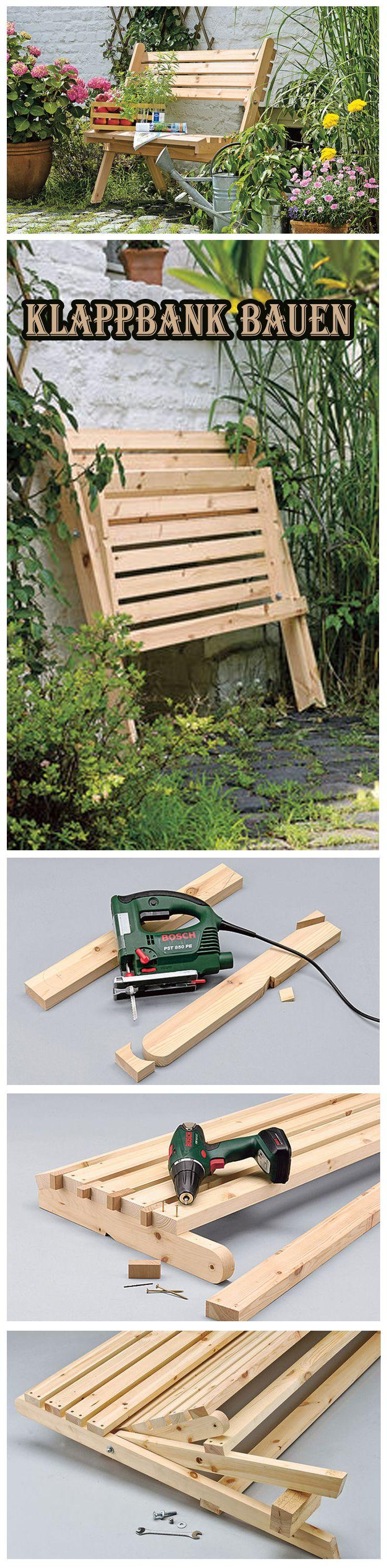 Vorteil an einer Klappbank: Sie ist schnell aufgestellt und kann platzsparend verstaut werden. Wir zeigen, wie man diese Gartenbank selbst baut.